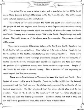 Civil War: Differences Between the North & South Differentiated Reading Passages