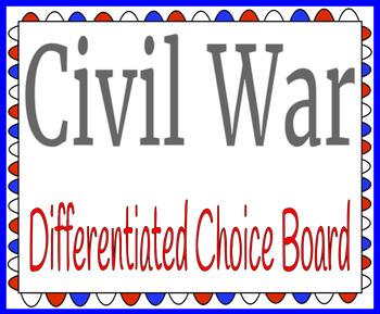 Civil War Differentiated Choice Board