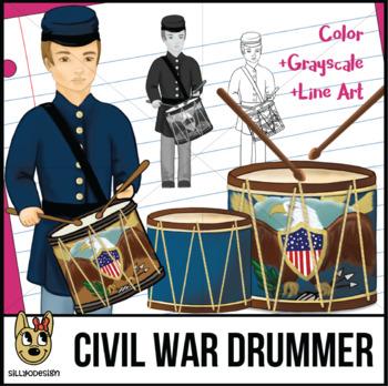Civil War Drum & Drummer Boy Clip Art