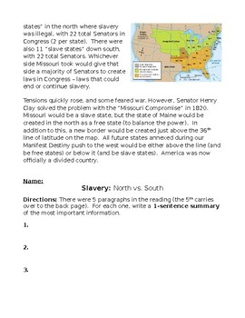 Civil War: Early Causes Constitution, Cotton Gin, Expansion, Missouri Compromise