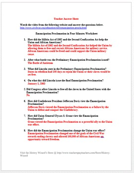 civil war emancipation proclamation in four minutes video worksheet. Black Bedroom Furniture Sets. Home Design Ideas
