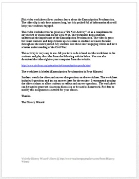 Civil War: Emancipation Proclamation in Four Minutes Video Worksheet