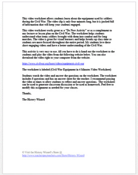 Civil War Equipment in 4 Minutes Video Worksheet