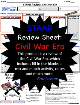 Civil War Era, STAAR Review Sheet