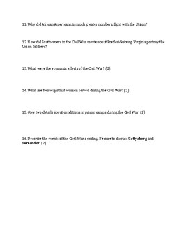 Civil War Essay Test United States History 8th Grade Social Studies