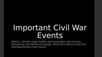 Civil War Events - 5th Grade