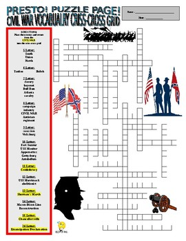 Civil War Events and Vocabulary Puzzle Page (Wordsearch and Criss-Cross)