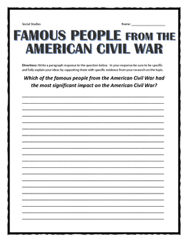 Civil War - Famous People of the Civil War - Chart / Assignment