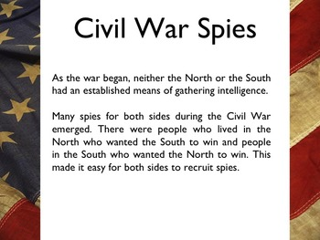 Civil War - Famous Spies PowerPoint