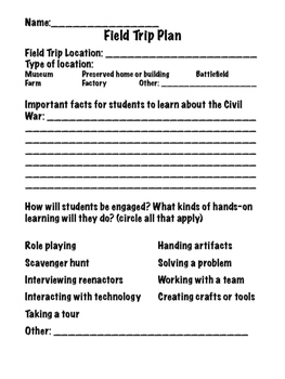 Civil War Field Trip Planning Project PBL