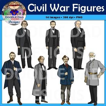 Civil War Clip Art (Abraham Lincoln, John Wilkes Boot, Robert E. Lee, Leaders)