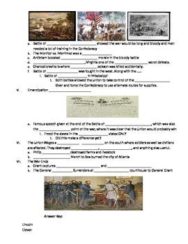 Civil War Fill in Notes