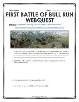 Civil War - First Battle of Bull Run - Webquest with Key
