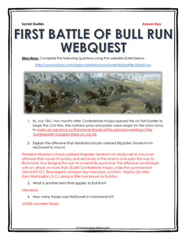 Civil War - First Battle of Bull Run - Webquest with Key