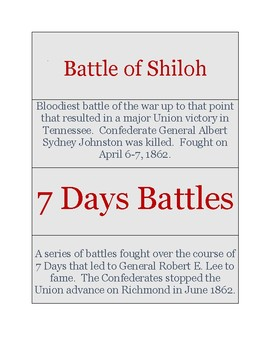 Civil War Flash Cards for Middle and High School!