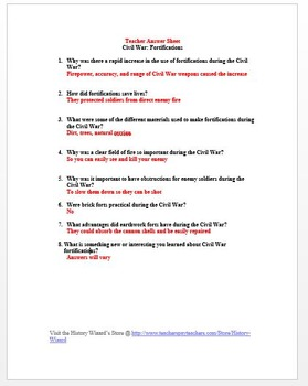 Civil War: Fortifications in 4 minutes Video Worksheet