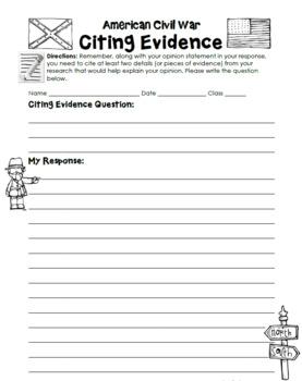 Civil War Activity Citing Evidence Free