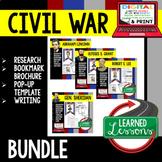Civil War Generals Biography Research, Bookmark Brochure, Pop-Up, Writing BUNDLE