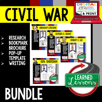 Civil War Generals Biography Research, Bookmark Brochure, Pop-Up, Writing BUNDLE