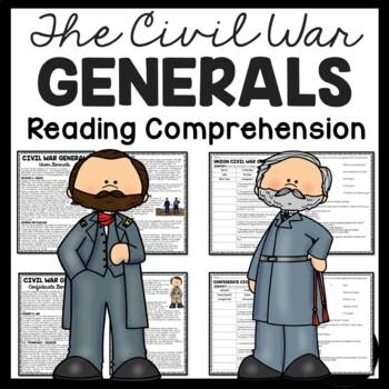 Civil War Generals Reading Comprehension Worksheet; Robert E. Lee, Grant