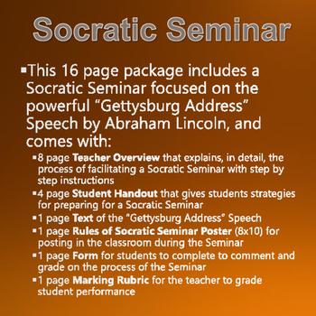 Civil War - Gettysburg Address - Socratic Seminar with Rubric