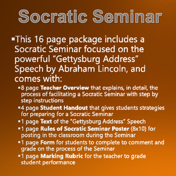 Civil War - Gettysburg Address - Socratic Seminar with Rubric