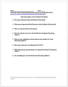 Civil War: Gettysburg Address in 4 Minutes Video Worksheet