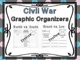 Civil War Graphic Organizers - Grant vs. Lee and North vs. South