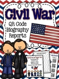 Civil War Historical Figures Biography Reseach Reports with QR Codes