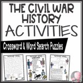Civil War Activities History Crossword Puzzle and Word Search Find