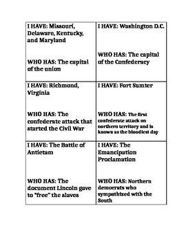 "Civil War ""I have who has""- Short version"