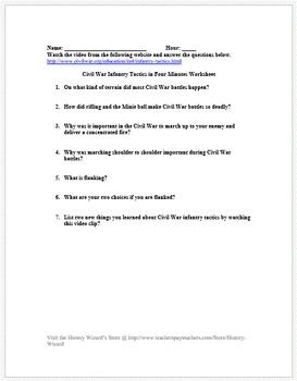 Civil War Infantry Tactics in Four Minutes Video Worksheet