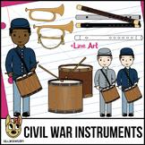 Civil War Instruments & Drummer Boy Clip Art