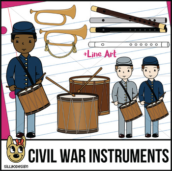 Civil War Instruments & Drummer Boy Clip Art