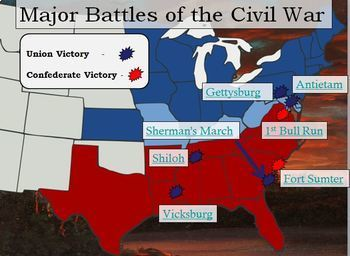 Civil War Interactive Battle Map and Worksheet w key by The History ...