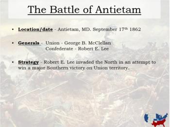 Civil War Interactive Battle Map and Worksheet w key
