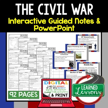 Civil War Interactive Guided Notes and PowerPoints American History