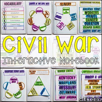 Civil War Interactive Notebook & Graphic Organizers American History