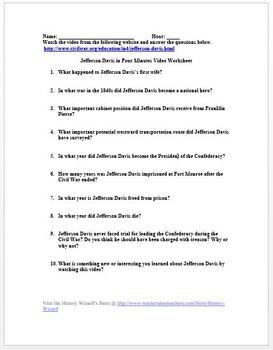 Civil War: Jefferson Davis in Four Minutes Video Worksheet