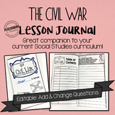 Civil War Journal for 4th and 5th grade EDITABLE Social Studies