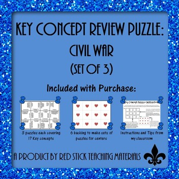 Civil War Key Concepts Puzzle--set of 3