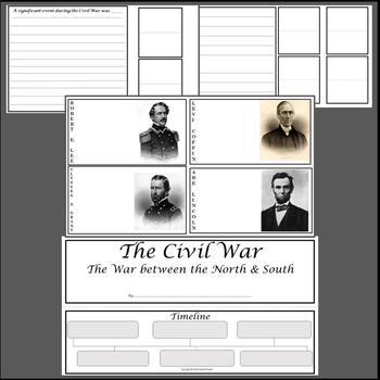 Civil War Lapbook Activity Project with Civil War Templates
