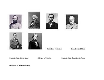 Civil War Leaders Cut & Paste; Matching