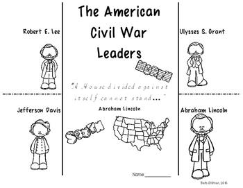 Civil War Leaders Foldable