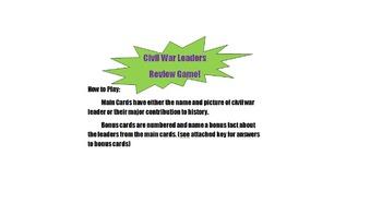 Civil War Leaders Review Game