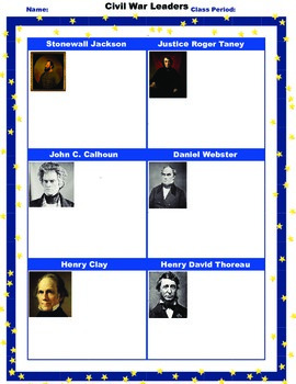 Civil War Leaders Student Worksheet/Printable/Homework