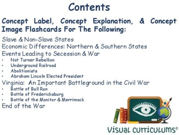 Civil War Lesson & Flashcards task cards study guide exam prep 2018 2019 update