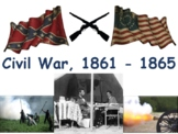 Civil War Lesson & Flashcards task cards study guide exam