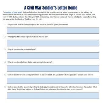 Civil War Letter Worksheet