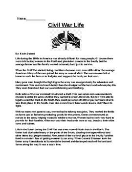 Civil War Life Assignment